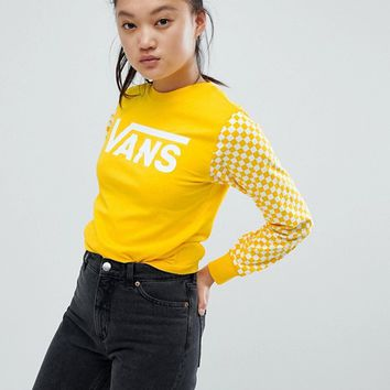 Vans Exclusive Yellow Sporty Heritage Long Sleeve T-Shirt at asos.com