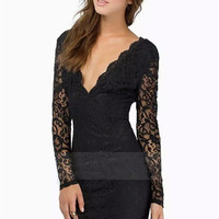 2015 Women Sexy Lace Dress Party Club Dress Girl Slinky Solid color Long-sleeve Dresses for Women