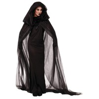 Women Wandering Soul in the Night Plus Size Halloween Costumes Woman Ghost Party Role Playing Witch Cape Black Dress