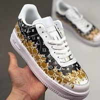 LV x GUCCI x Nike Air Force 1 AF1 colorful graffiti low-top sneakers shoes