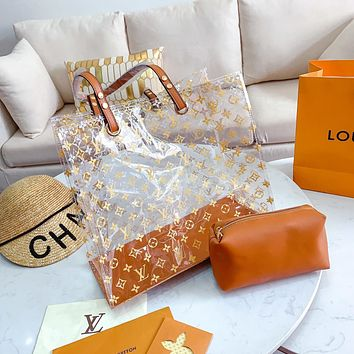 Hipgirls Louis Vuitton LV New Fashion Lady Printed Letters Transparent Jelly Pack Two Piece Set