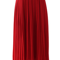 Chiffon Pleated Maxi Skirt in Red Red S/M