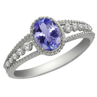 1.00 Ct Oval Tanzanite and White Topaz 925 Silver Ring