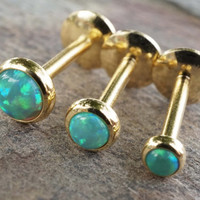 Gold and Green Fire Opal 16 Gauge Cartilage Earring Tragus Monroe Helix Piercing You Choose Stone Size