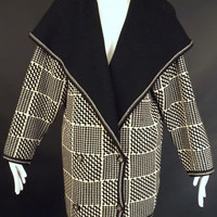EMANUEL UNGARO-1980s Wool Sweater Knit Coat, Size-Medium