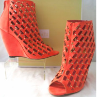 Peach Cut Out Wedge Bootie Heel Sandal Shoe