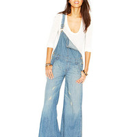 Free People D-Ring Back Washed-Chambray Wide-Leg Overalls