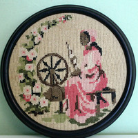 Cross Stitch Picture, Woman Picture, Woman Painting, Drawing, Wall Decor, Chabby Chic Decor
