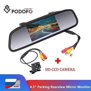 "alletronics Specials Podofo 4.3"" TFT LCD Car Parking Rearview Mirror Monitor 2 Video Input For Rear View Camera LED Night Vision Reverse Auto Camera"