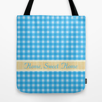 home, sweet home blue plaids graphic pattern. Tote Bag by PatternWorld