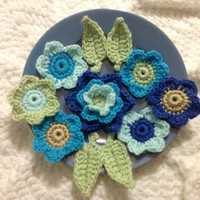 Hand Crochet Flower Appliques Embellishments-Set of 11-Key Lime Pie Green, Mint Green, Teal Blue, Taupe and Heather Blue