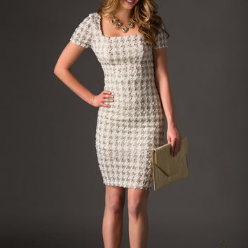 Bryn Fitted Houndstooth Dress