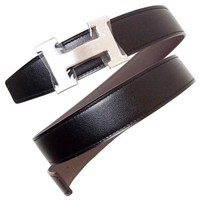 New Auth HERMES H belt Silver buckle Box calf leather Togo Black Ethane Men's
