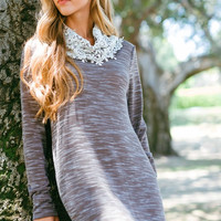 Dress with Lace Detail - Heather Brown