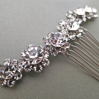 Bridal Crystal Hair Comb -Rhinestone Floral Wedding Headpiece - Bridal Accessories - Little Flowers