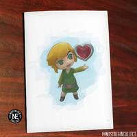 Link to My Heart - Water Color Style Cute Anniversary Love Card, Legend of Zelda Inspired Heart Container - Toon Link 4.5 X 6.25 Inches