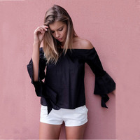 2016 Trending Fashion Summer Women Boat Neckline Sexy Erotic  Shirt Blouse Top