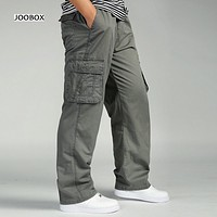 6XL Spring and summer men loose large size straight multi-pocket cotton casual pants men loose waist belt with tooling trousers