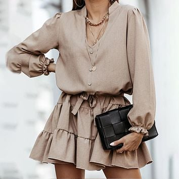 New women's solid color sexy V-neck long-sleeved lace-up skirt
