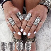 Gypsy Ring Set 4 Piece Totem Tribal Shield Rings Silver Stacking Stackable Rings