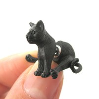 3D Sitting Kitty Cat Shaped Two Part Front Back Stud Earrings in Black | DOTOLY