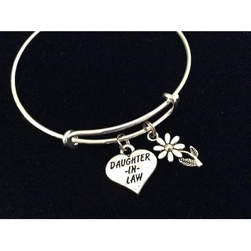 Daughter In Law Heart Daisy Silver Expandable Charm Bracelet Adjustable Bangle Meaningful Gift