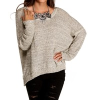 Oatmeal Basic Textured Sweater