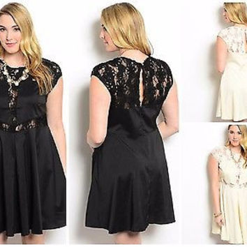 Plus Size Cream or Black Floral Lace Trim Fit and Flare Dress 1X 2X 3X