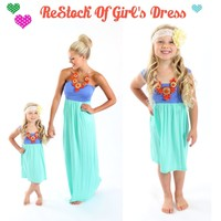 Lilac and Mint Cinched Straps Maxi Dress - Ryleigh Rue Clothing by MVB