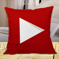 YouTube Icon Full Color on Square Pillow Cover