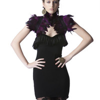 TRASHGLAM High fashion luxe purple coque feathered black lace shrug SHOULDER WRAP