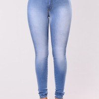 Classic High Waist Skinny Jeans - Light Blue