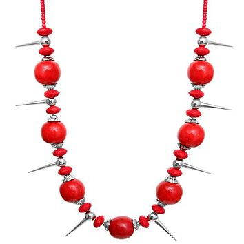 Red Wooden Sequin Spike Necklace Set