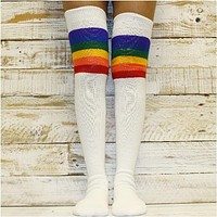 RAINBOW stripes over knee thigh high sock - white / colorful