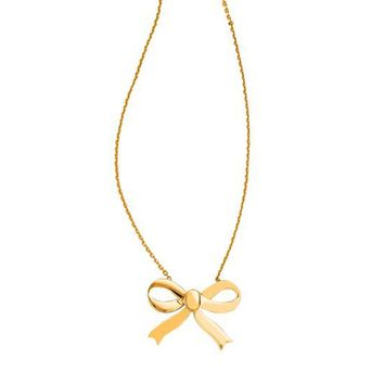 14K Yellow Gold Bow Pendant Cable Chain Link Necklace, 18""
