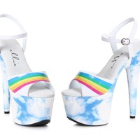 Cloud Print Ankle Strap Sandal Stripper Shoes