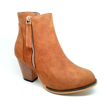 Women's Tan Color Faux Leather Boot with Zipper Detail