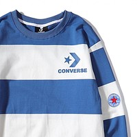Converse 2019 new street fashion high street big striped embroidery LOGO men and women couple long-sleeved T-shirt sweater