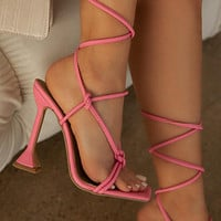 New pink stiletto fish mouth cross strap metal pendant high heel sandals shoes