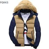 FGKKS 2017 Winter Jacket Thick Warm Hooded Coats Casual Men Jackets Fashion Hoodies Fur Stand Brand Clothing
