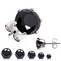 A Pair of 316L Surgical Steel Black Round CZ Stud Earrings