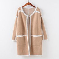 Sweater With Pocket Round-neck Knit Tops Jacket [9101518471]