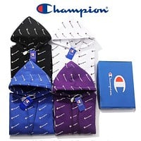 Champion Autumn Winter Classic Popular Women Men Casual Full Logo Print Hooded Long Sleeve Top Sweater Hoodie Couple Velvet Sweatshirt(4-Color) I13173-1
