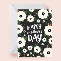 INSTANT DOWNLOAD - Floral printable 5 x 7 mothers day card / dark gray and cream /  for mom / happy mothers day / mom / moms / greeting
