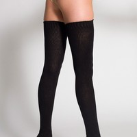 rsaskth7 - Cotton Solid Thigh-High Socks