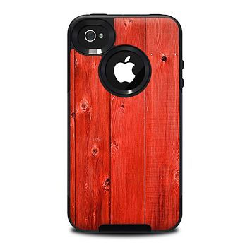 The Red Highlighted Wooden Planks Skin for the iPhone 4-4s OtterBox Commuter Case
