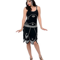 Iconic by UV Exclusive Black & Silver Sequined Gatsby Flapper Dress