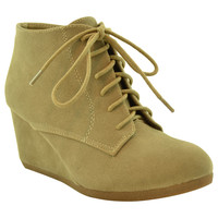 Womens Ankle Boots Lace Up Faux Suede Wedge Shoes Taupe