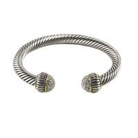 Yarita Clear Crystal Textured Cable Open Bracelet