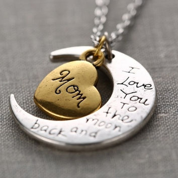 "2015 New Fashion Family ""I LOVE YOU TO THE MOON AND BACK "" Necklace Pendant (With Thanksgiving&Christmas Gift Box)= 1946207812"